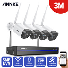 ANNKE 2MP/3MP CCTV System 8CH HD Wireless NVR Kit 4pcs IP66 Waterproof IR Night Vision IP Wifi Camera Audio Recording CCTV Kit