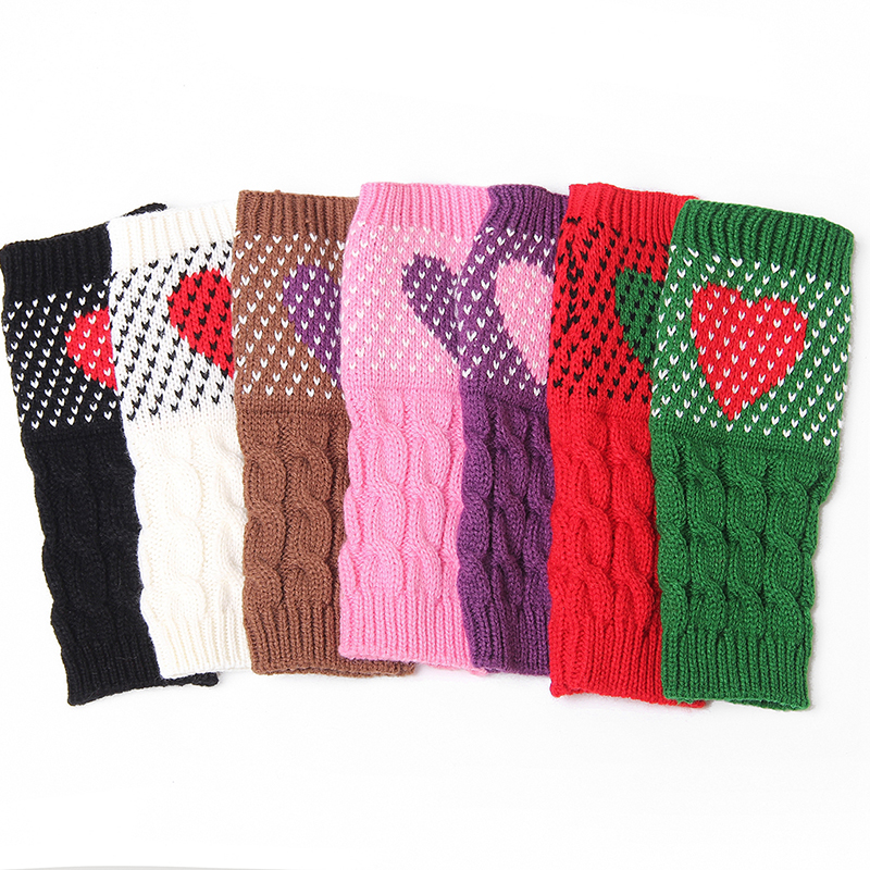 Winter Christmas Heart Typing Knitted Gloves Girls Cute Arm Wrist Warmer Fingerless Sleeve Gloves Sweet Autumn Colorful Mittens