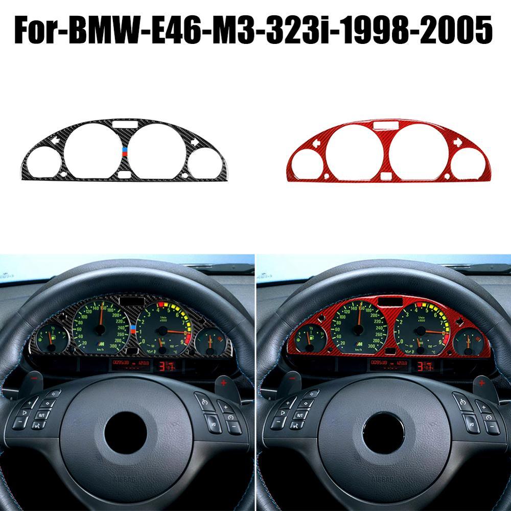 Carbon Fiber Interior Instrument Panel Decorative Frame Dashboard Cover Stickers Trim Interior Moulding For BMW E46 M3 1998-2005