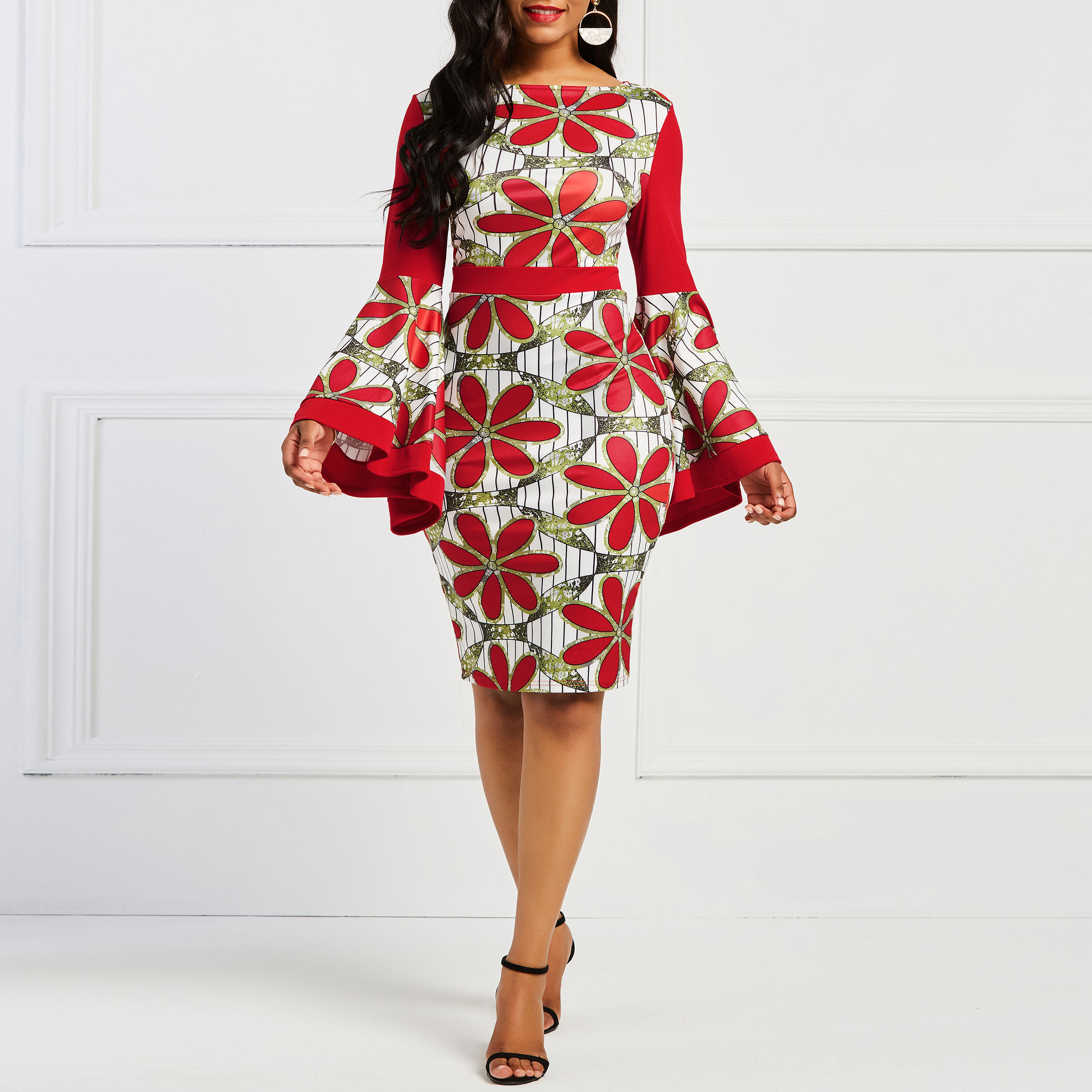 Vintage Floral Print Women Bodycon Midi Dress Elegant Red Cocktail Party Dresses Spring Summer African Slim Vestidos De Fiesta