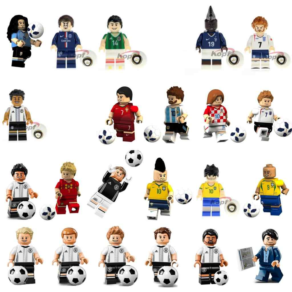 22pcs Messi Ronaldo Pogba Zlatan Ibrahimovic Neymar Ozil De Bruyne Football Soccer Figure Compatible With Lego
