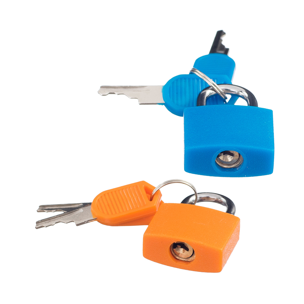 2 Small Padlock Set With Keys (2 Pairs) Luggage Suitcase Travel Bag Mini Lock Accessory Kit Solid Brass Blue & Orange