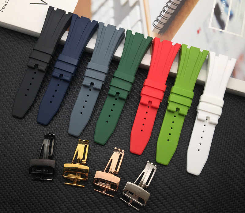 Nature silicone rubber watchband for AP Strap Folding Buckle 26mm 27mm for Audemars And Piguet watch band 15400/26470/15703