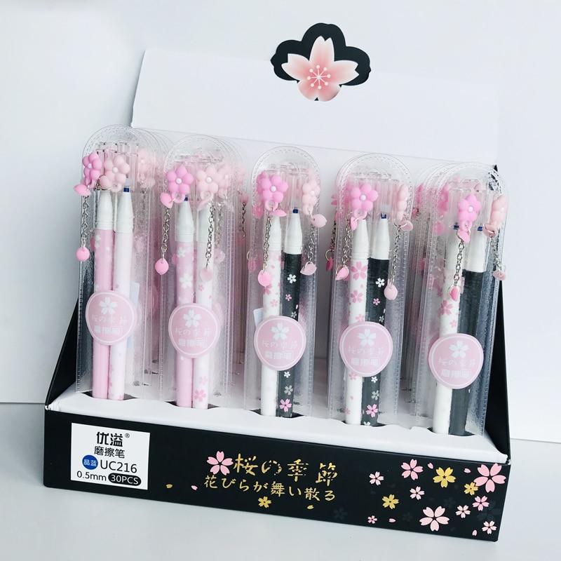 1 Set 2pcs 0.5mm Blue Ink Romantic Sakura Floral Erasable Gel Pen Rollerball Pen School Office Supply Student Stationery