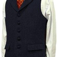 Мужской повседневный костюм, жилет, приталенный, лацкан с тупым углом, шерсть, твид, елочка, жилет для свадьбы, женихов, мужчин