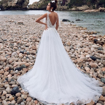 Lakshmigown-vestido de novia blanco elegante para playa, vestido de verano Sexy con...