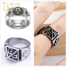 Vintage Big Stainless Steel Men Rings Relief Letters Souvenirs Statement Ring Wide Mens Wedding Bands hombre anillos Z5