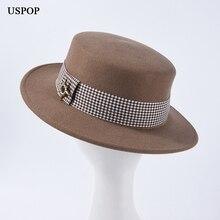 USPOP 2019 New wool fedoras plaid ribbon flat top female wide brim autumn hat