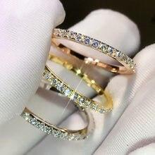 Bague diamant pour femmes, couleur argent 925 Carats, or 14K, pierre Pure, bijoux de mariage, bague couleur argent 1.5 100% 925