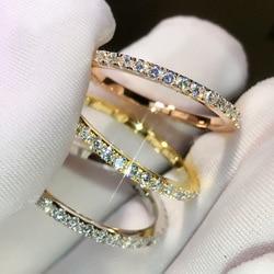 925 srebrny kolor 1.5 karatów diamentowy pierścionek dla kobiet moda 14K złota czystego kamienia biżuteria ślubna 100% 925 kolor srebrny pierścień