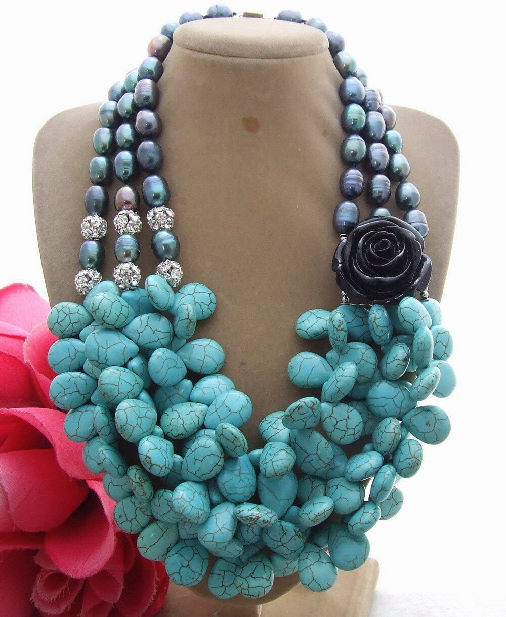"""18"""" 3 Strands Black Pearl Blue Turquoise Resin Flower Necklace"""