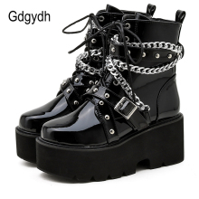 Gdgydh Autumn Winter Boots Women Sexy Chain Boots Ankle Buckle Strap Ankle Boots Square Heel Thick Sole Platform Rock Punk Style