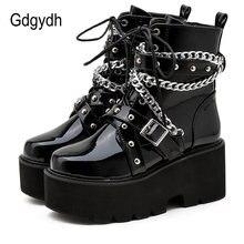 Gdgydh/осенне зимние ботинки; Женские пикантные ботинки с цепочкой;