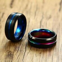 Vnox anel clássico de carboneto, superfície fosca, de tungstênio, preto, alianças masculinas, presente de aniversário, confortável