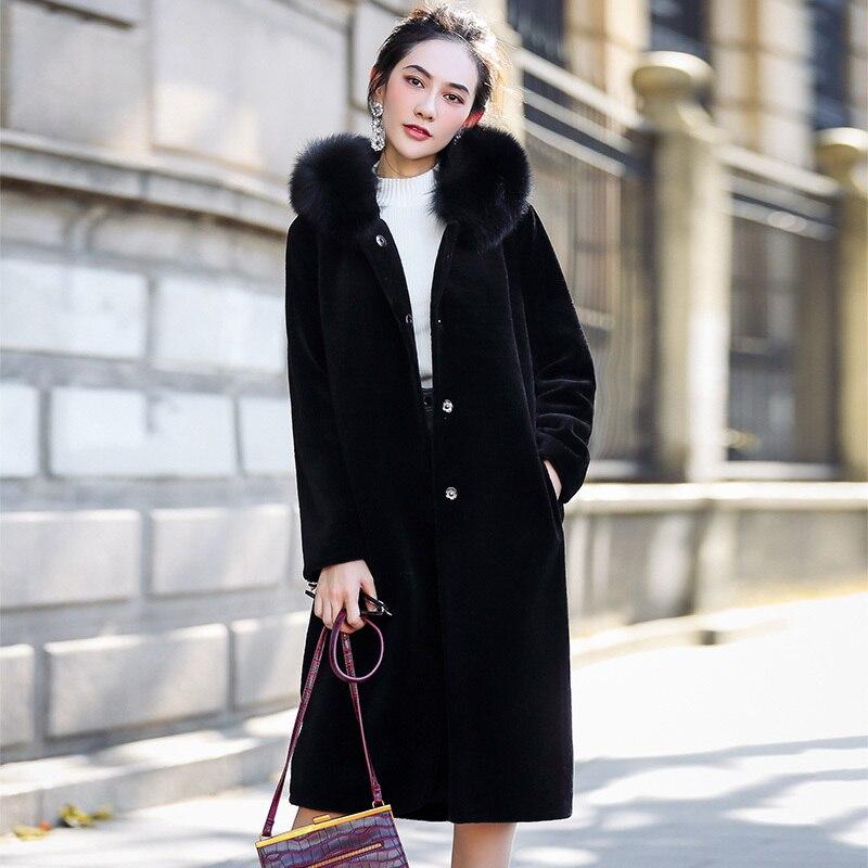 Genuine Fur Coat Women Winter Warm Thick Sheep Shearing Fox Fur Collar Hooded Jackets Luxury OT1744 MF535