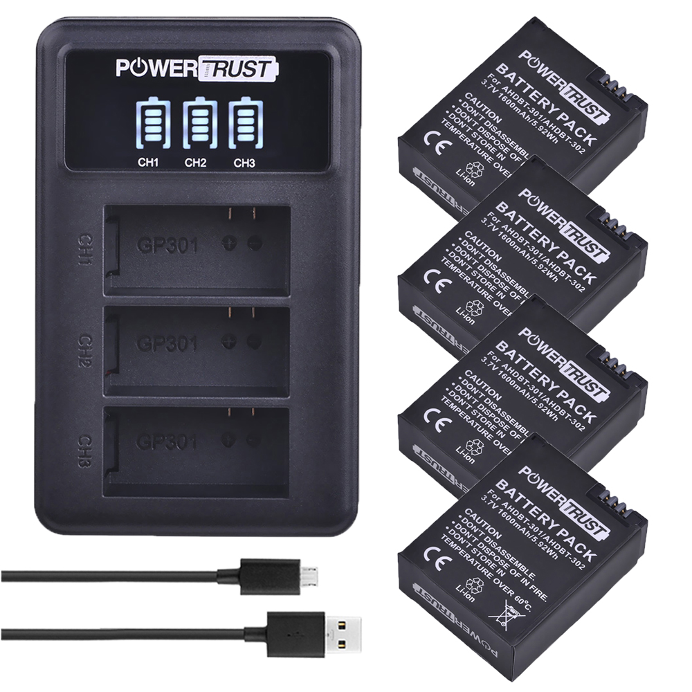 3.7V 1600mAh AHDBT-301 AHDBT301 AHDBT 301 Li-ion Battery For GoPro Hero3 + LED 3-Channel USB Charger For Gopro Hero 3/3+
