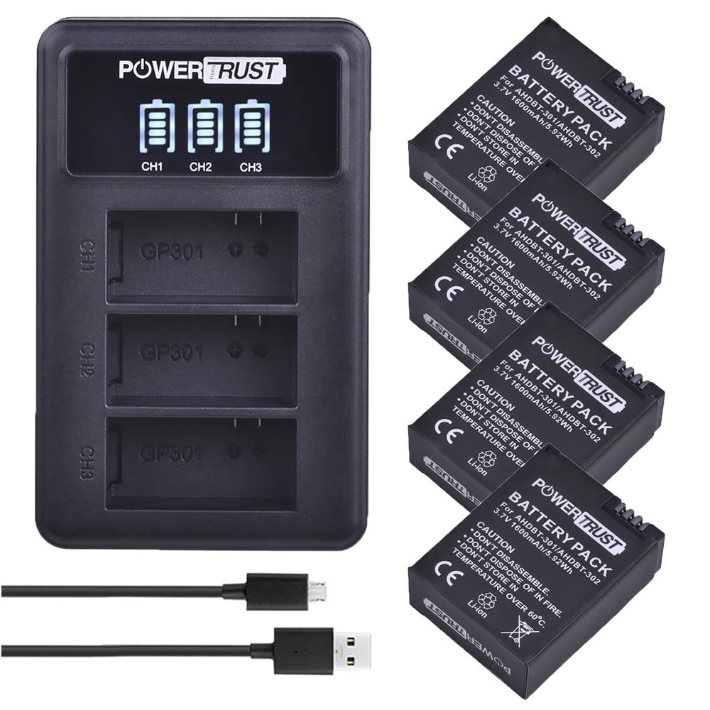 Литий-ионный аккумулятор AHDBT301 AHDBT 301, 3,7 В, 1600 мА · ч, для GoPro Hero3 +, 3-канальное светодиодное Зарядное устройство USB для Gopro Hero 3/3 +