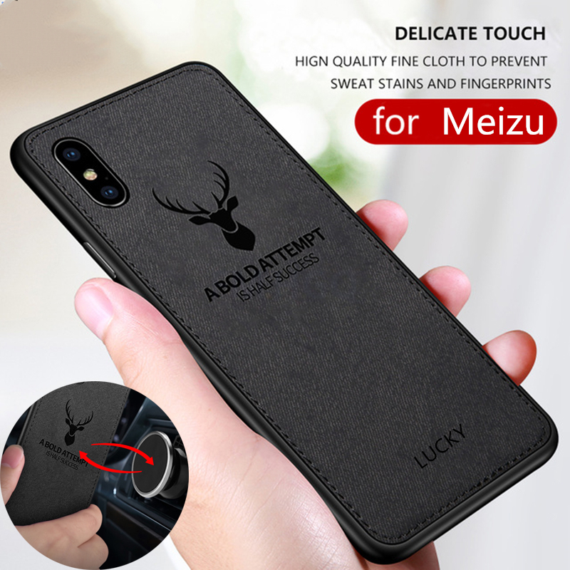 Cloth Texture Deer 3D Soft TPU Magnetic Car Case For Meizu 16 Built-in Magnet Plate Case For Meizu 16 16X 16th Cover Silicone