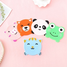 Silicone Dining Table Placemat Coaster Mat Cup Bar Mug Cartoon Animal Creative Funny Drink Pads household Kitchen Accessories non slip bar rubber mat pvc pad coaster kitchen placemat bar rectangle mat cup mug set beer whiskey waterproof bar accessories