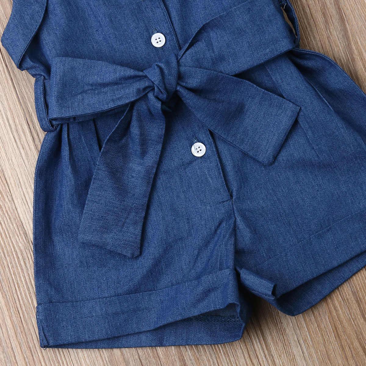 1-6T Pudcoco Engeland Stijl Romper voor Peuter Baby Meisje Denim Jumpsuit 2 STUKS Kids Mouwloze Jumper met boog Riem Outfit Kleding