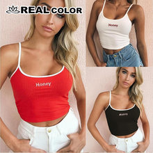 Women Honey Letter Strap Tank Tops 2018 Female Slip Crop Tops Sexy Camis Club Camisoles White Red Ladies Short Tight Shirt(China)