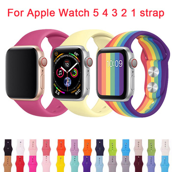 цена на Watch band For Apple Watch 44mm Silicone Strap For iwatch Series 5 4 3 2 1 Wirst Bracelet 38mm Replacement Band 40mm Sport 42mm