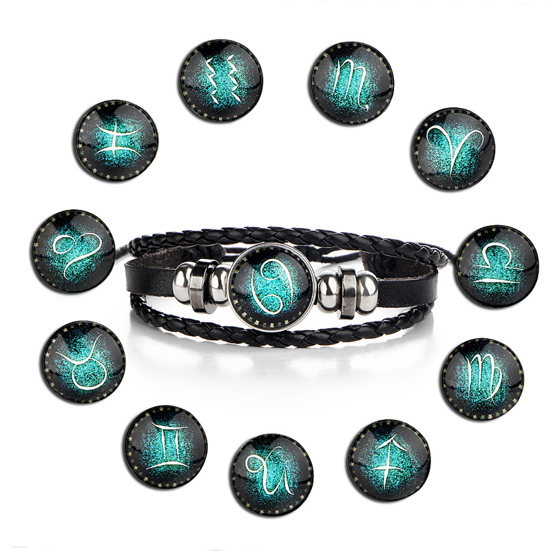 12 Constellation Zodiac Sign Black Braided Leather Bracelet Cancer Leo Virgo Libra Woven Glass Dome Jewelry Punk Men