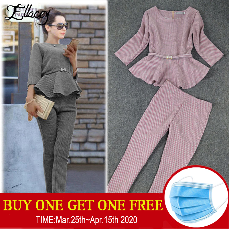 New 2020 Spring Autumn Fashion Women's Business Pants Suits Houndstooth Checker Pattern Ruffles Suits For Women 2 Pieces Set