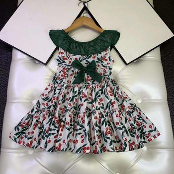 2020 New Summer Sleeveless Baby Girls Clothing Bow Green Flower Boutique Brand Girls Dresses for party and wedding Girls Clothin