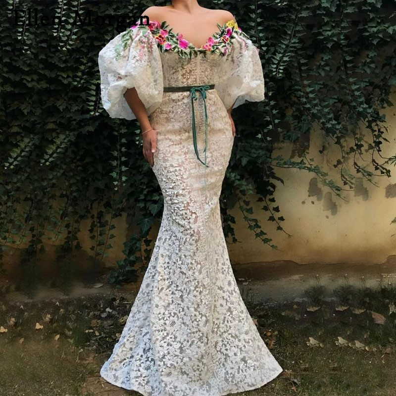 Arabic Mermaid Evening Dresses 2019 Sleeves Embroidery Lace Floor Length Red Carpet Celebrity Event Formal Party Prom Gowns