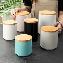 500ML 800ML 1900ML Large Capacity Ceramic Food Storage Containers Coffee Storage Bottle with Wood Lid Kitchen Storage Container