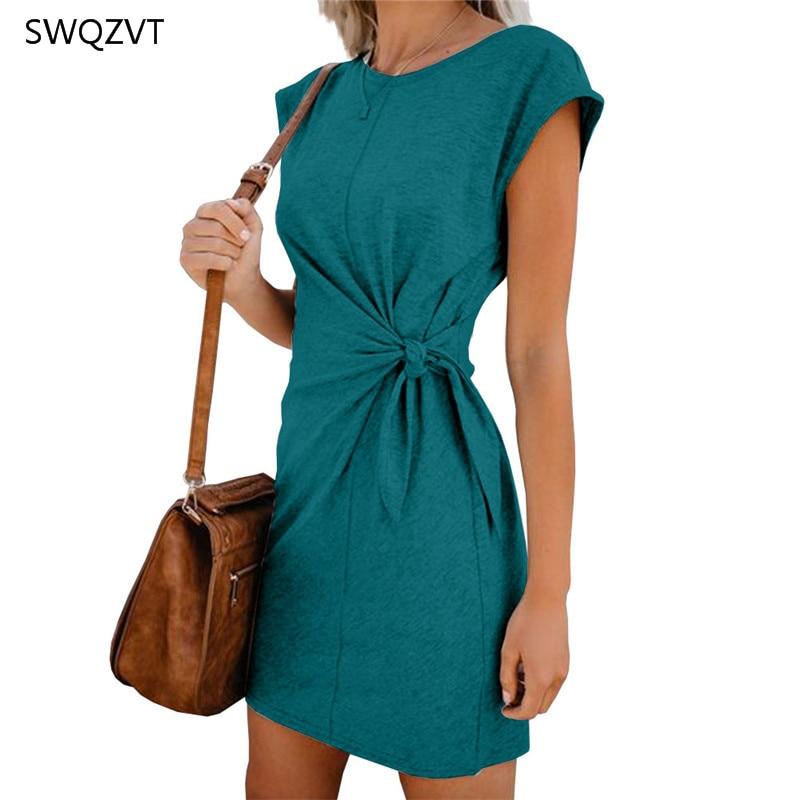 Fashion-Women-Mini-Dress-Casual-Round-Neck-Waist-Tie-Spring-Summer-Women-Dress-2020-New-Loose