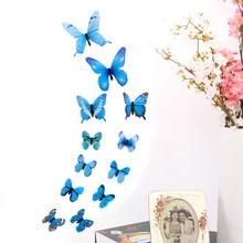 купить 12pcs PVC 3d Butterfly wall decor cute Butterflies wall stickers art Decals home Decoration room wall art child wallpaper -W по цене 72.95 рублей