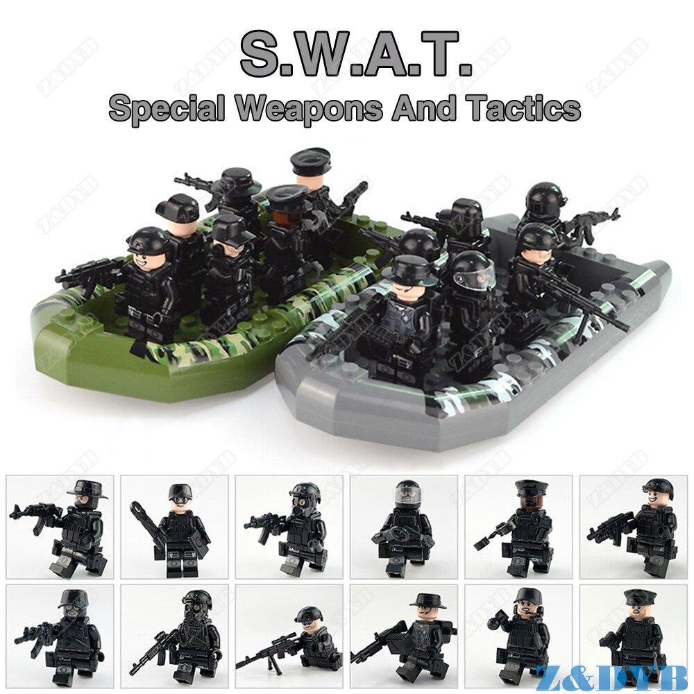 SWAT Team City Police Military Soldier Special Figure Weapon Gun Army War Legoed Minifig Model Building Block Brick Children Toy