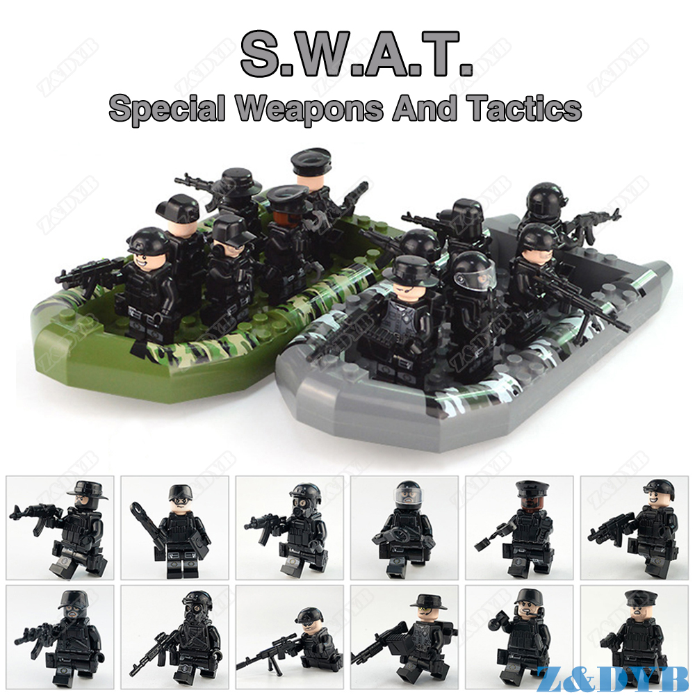 SWAT Team Special Forces City Police Military Soldier Figure Set Weapon Gun Army Legoed Model Building Block Brick Children Toys