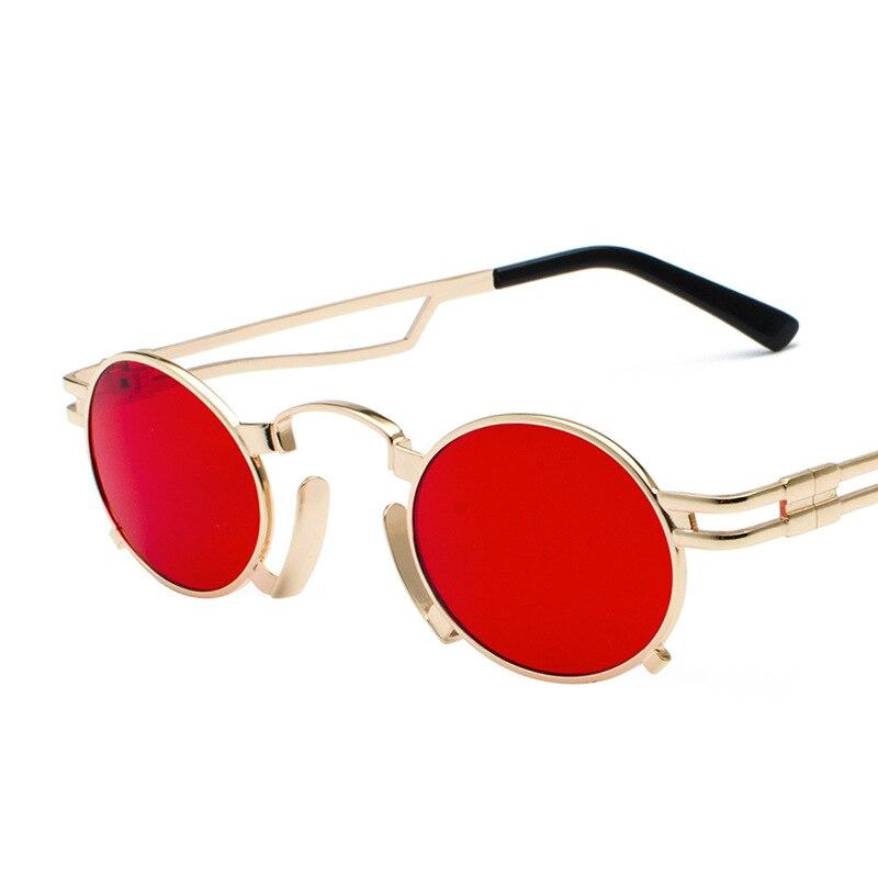 Винтажные стимпанк Солнцезащитные очки Мужские Женские металлические ретро панк Солнцезащитные очки Желтые красные маленькие круглые