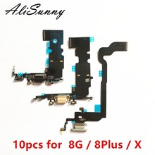 AliSunny 10 шт. зарядный порт гибкий кабель для iPhone X 8 Plus 8G 5,5 8 Plus 8 P USB док станция зарядное устройство микрофон запасные части
