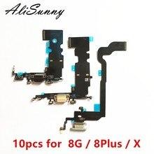 AliSunny 10pcs Charging Port Flex Cable for iPhone X 8 Plus 8G 5.5 8Plus 8P USB Dock Connector Charger Microphone Repair parts
