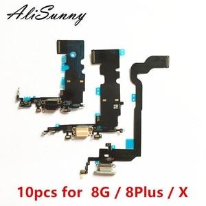 Image 1 - AliSunny 10pcs Charging Port Flex Cable for iPhone X 8 Plus 8G 5.5 8Plus 8P USB Dock Connector Charger Microphone Repair parts