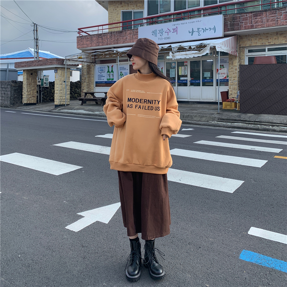 Fashion Trendy Harajuku Preppy Style Sweatshrit Women Letter Print Oversized Solid Color Top Female Casual Streetwear Pullover