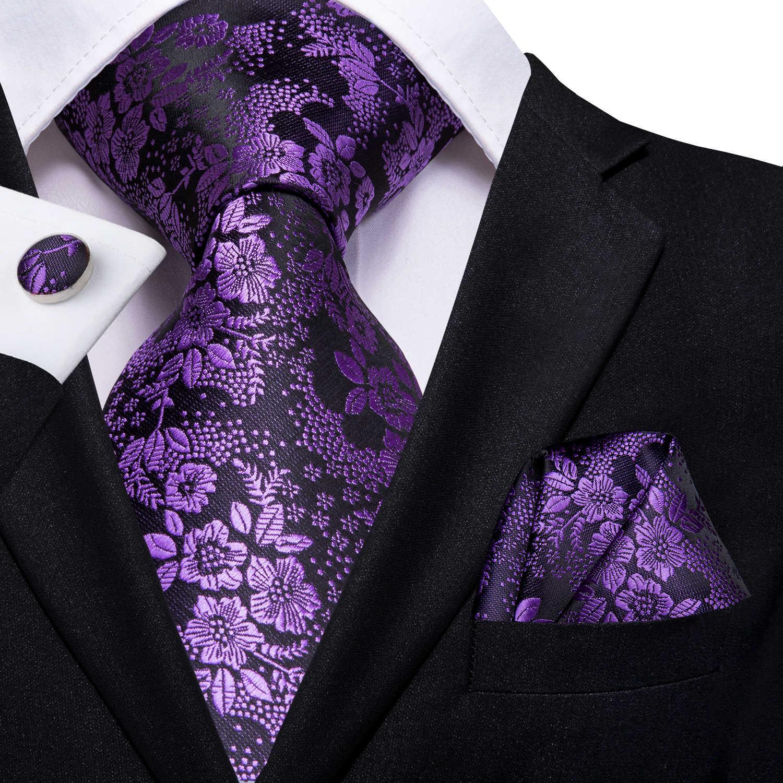 היי-עניבת יוקרה משי סגול פייזלי פרחוני קשרי לגברים עניבת סט קשרי ממחטות אופנה מעצב עסקי חתונה mens קשרי