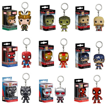 Funko POP The Avengers Justice League Thor Loki THANOS Captain Marvel Venom Deadpool Keychain action Figure Toys for children