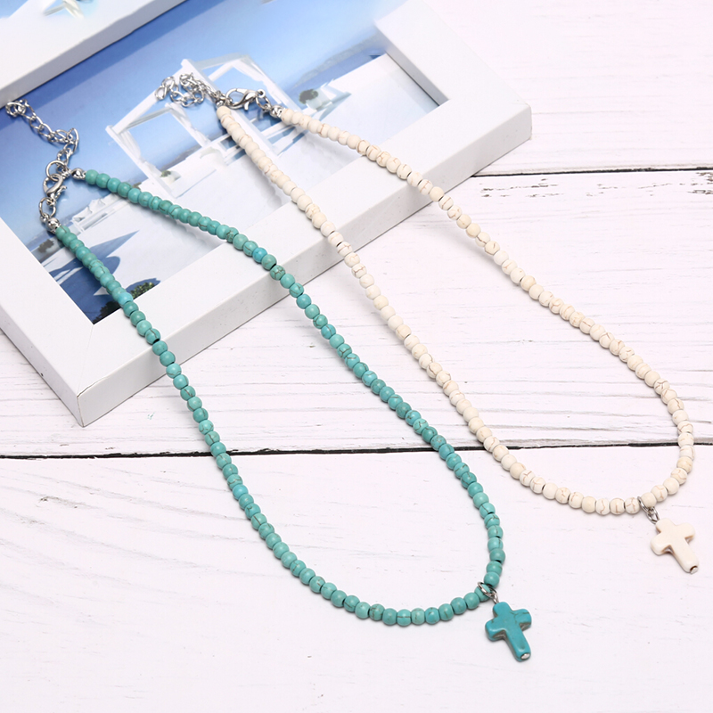 Женское Ожерелье-чокер из натурального бирюза, подвеска с синим и белым кулоном, светильник с крестиком для молитвы