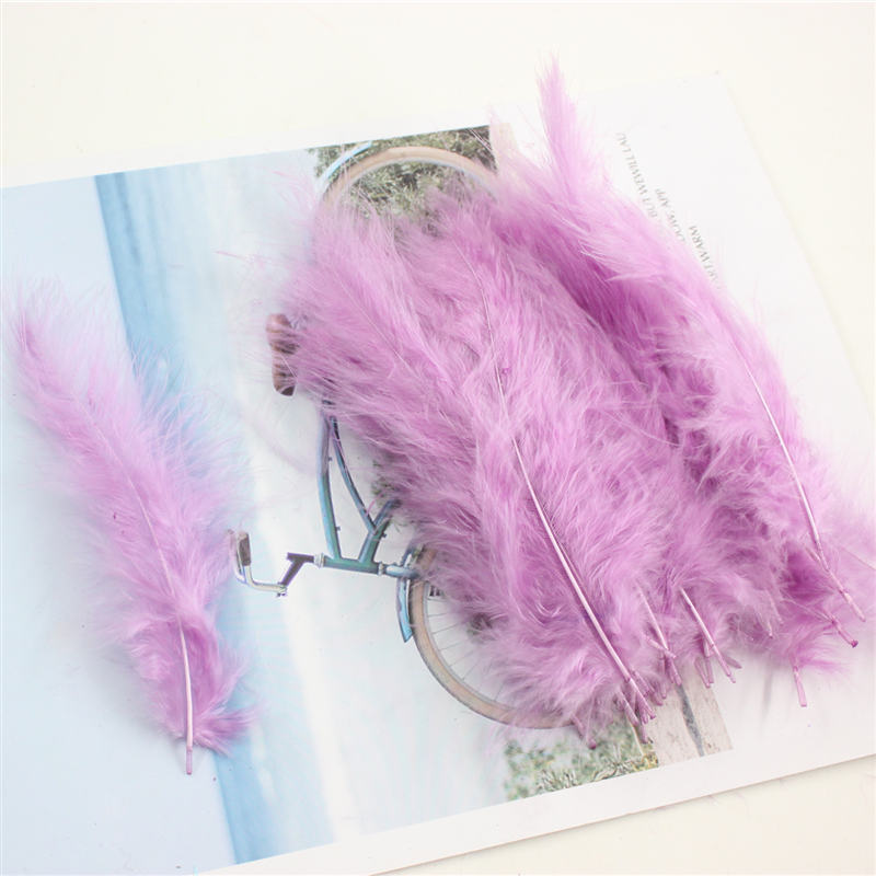 50 шт., 4-6 дюймов, 10-15 см, индейка марабу, перья, Пушистые свадебные платья, сделай сам, украшения, декоративные аксессуары, перья - Цвет: purple red 50pcs