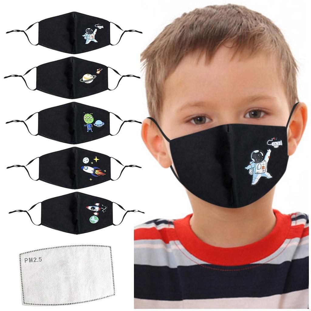 Детская Хлопковая маска для мальчиков и девочек моющаяся многоразовая маска для лица регулируемая детская маска для рта Пылезащитная Ветр...