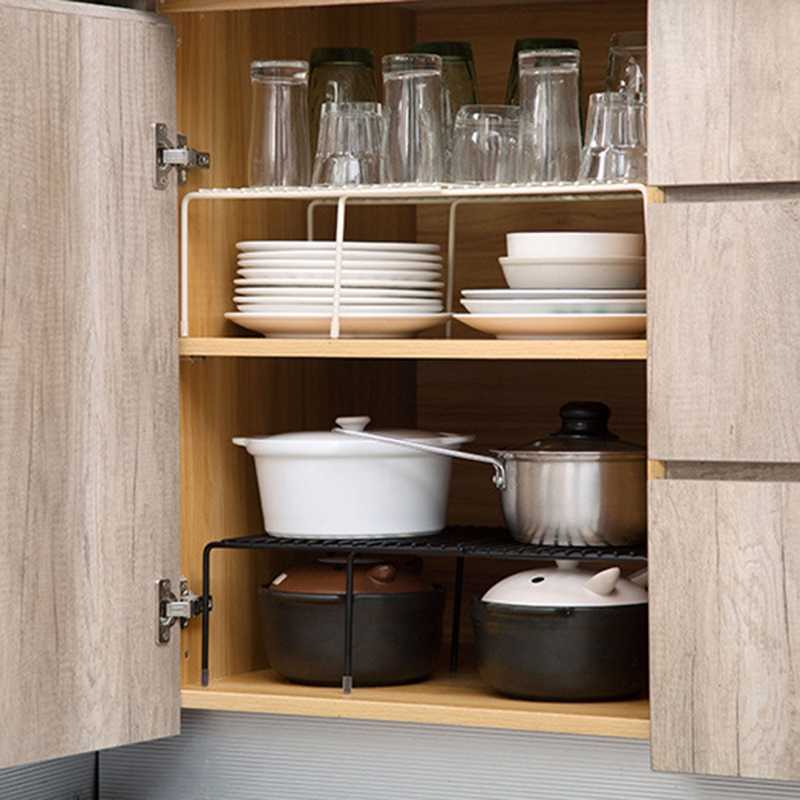 Expandable Cabinet Shelf Adjustable Kitchen Countertop Organizer Storage  Rack for Dish Cookware Canned Food Mugs Cups