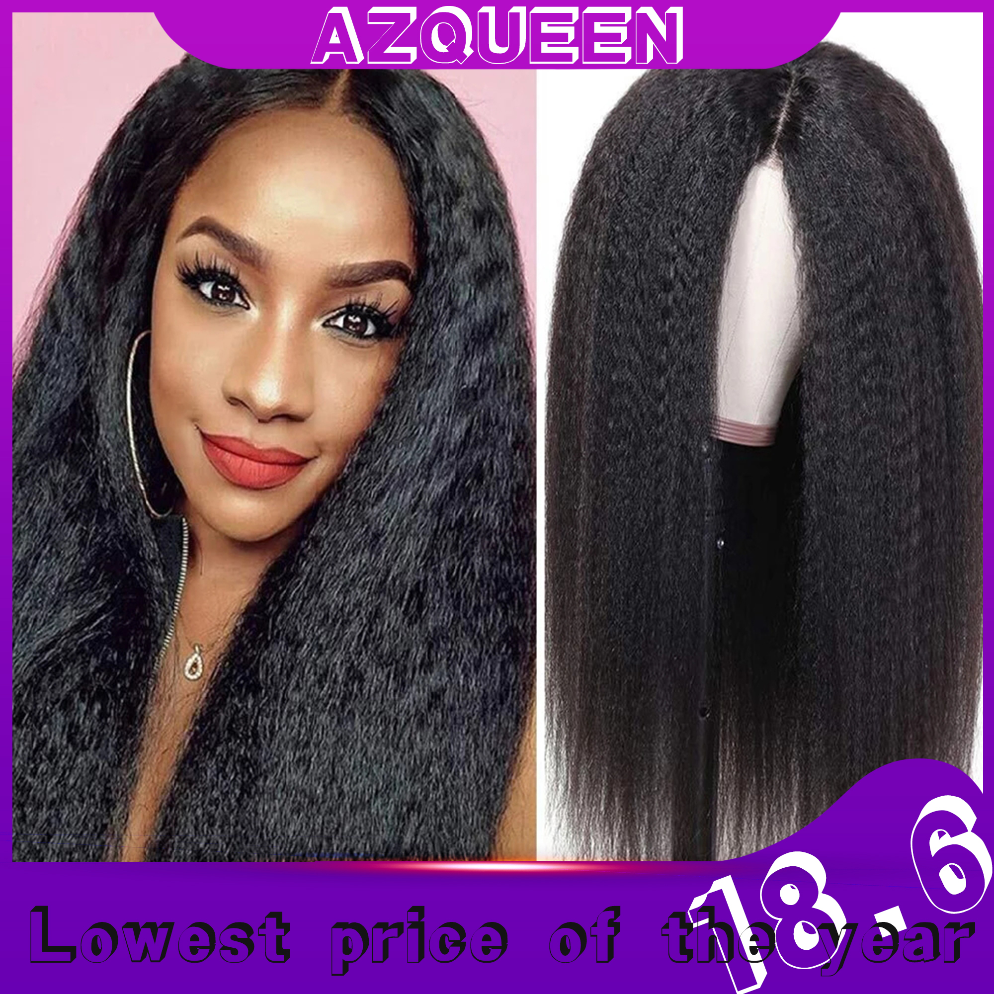 AZqueen Synthetic Wigs Yaki Straight Hair Wig For Women 30inch Long Afro Hair Heat Resistant Fiber African Wig