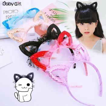 Novelty Kids Cat Ears mesh Headband Sequins hair head hoop band accessories cute Girl Hairband princess Crown Tiara Headwear image