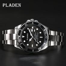 Pladen masculino relógios de quartzo de luxo da marca superior homens completa aço inoxidável relógio 30m à prova dshockproof água à prova choque esporte relógio de pulso