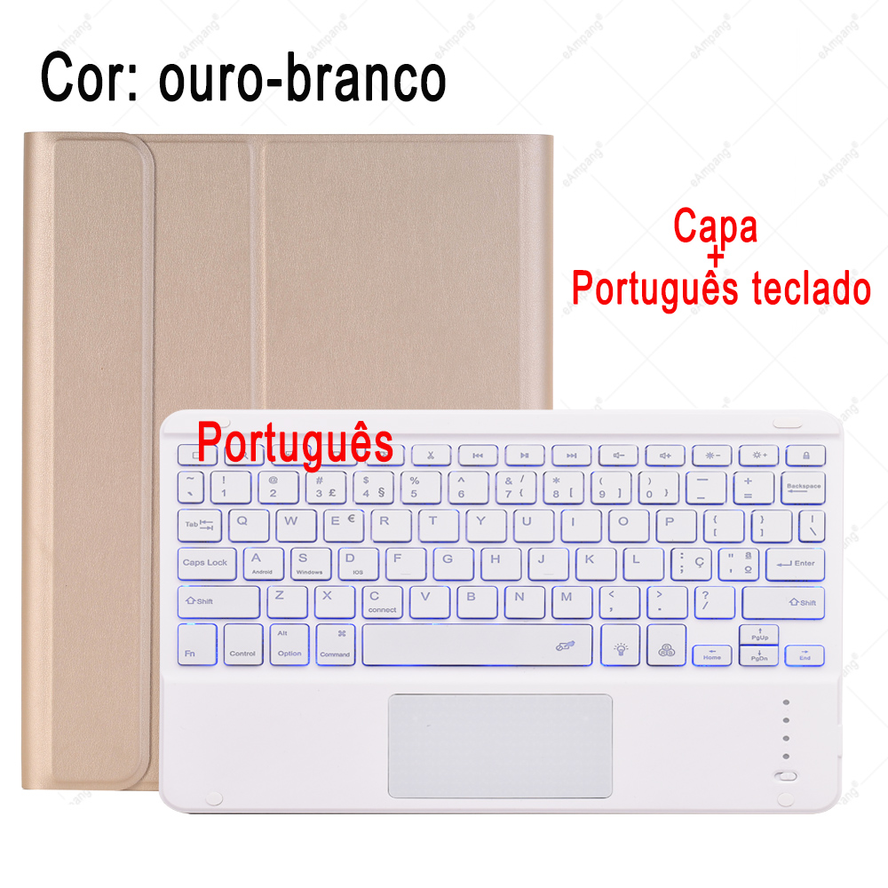 Portuguese Keyboard Tan/Khaki For iPad 7th 8th Generation 10 2 2019 A2200 A2198 A2232 Case with Backlit Touchpad Keyboard